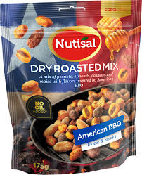 DRY ROASTED MIX AMERICAN BBQ 175G NUTISAL