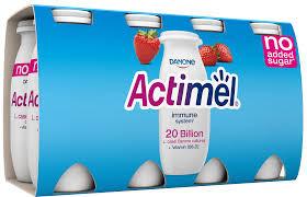 Actimel Jordgubb Utan Tillsatt Socker 8X100 G Danone