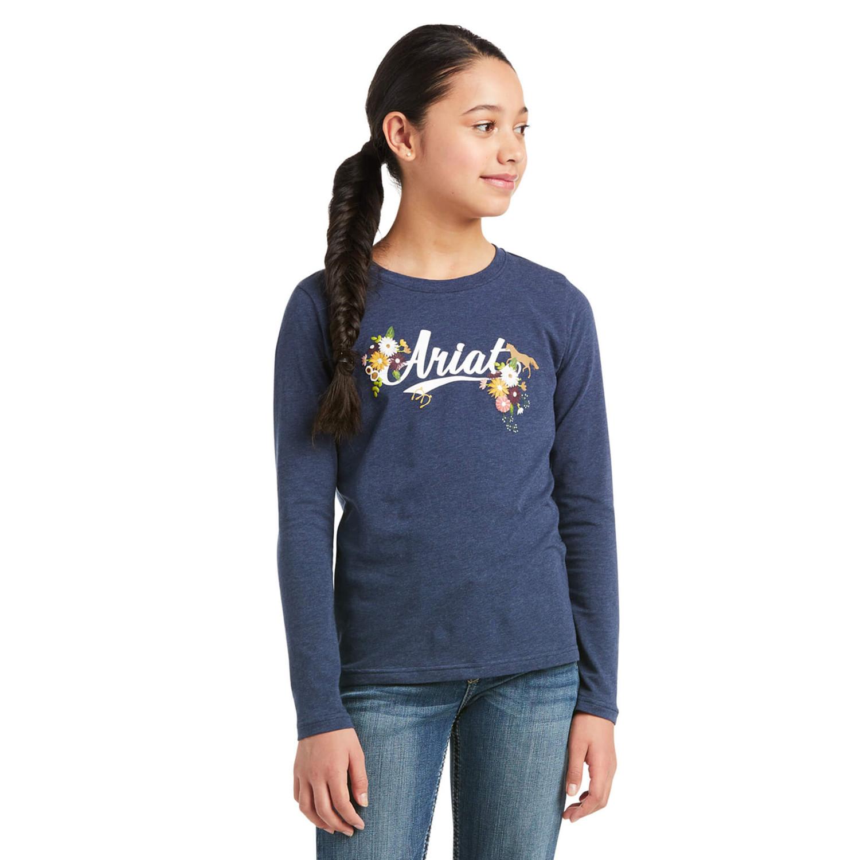 T-Shirt Flora Fauna Junior Ariat Marinblå/M