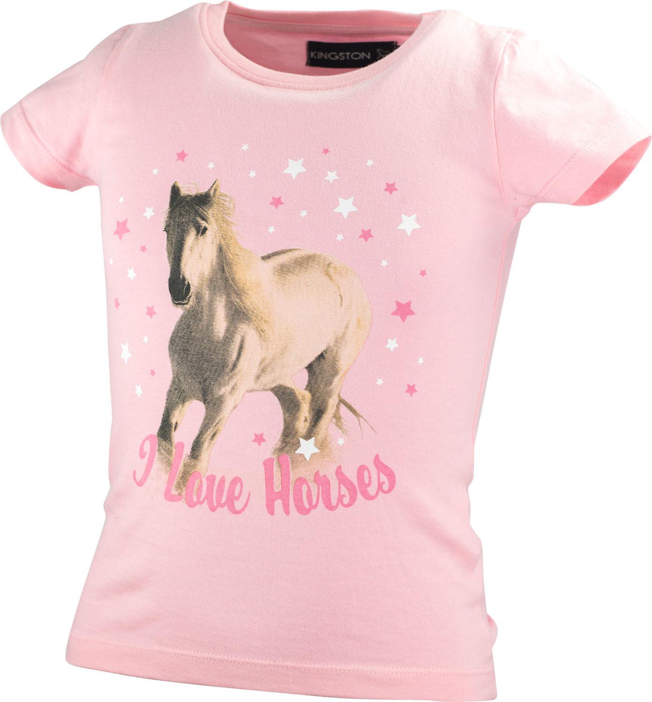"""T-Shirt """"I Love Horses"""" Kingston Rosa/146/152"""