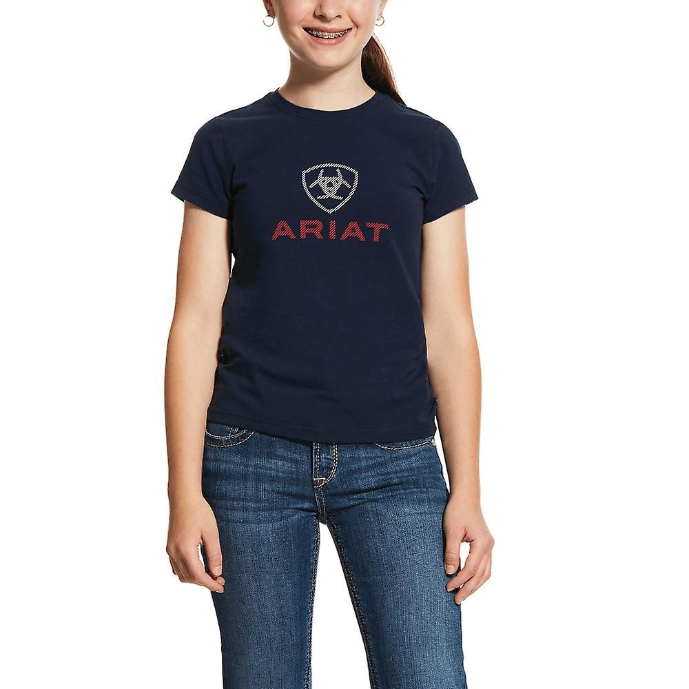 T-Shirt Logo Girls Ariat Marinblå/M